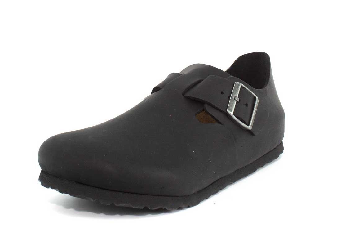 Birkenstock London 66963 - Sandalias de cuero unisex 37 EU|Negro (Black Oiled Leather)