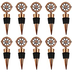 PartyTalk 10pcs Vintage Compass Christmas Wine Bottle Stoppers, Our Adventure Begins Bottle Stopper Party Favor Travel Themed Wedding Xmas Decorations