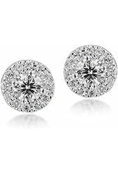 Diamond Studs Forever 1/2 Ctw Diamond Halo Earrings IGI USA Certified Screw Backs GH/I1 14K White Gold