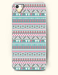 OOFIT Aztec Indian Chevron Zigzag Native American Pattern Hard Case for Apple iPhone 5 5S ( iPhone 5C Excluded ) Retro Geometric Aztec Ethic Chevron Pattern With Triangles