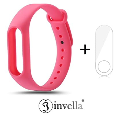 Mi Band 2 Strap, invella (TM) Mi Band 2 Replacement Belt/Strap (Pink) with  Mi Band 2 Screen Guard
