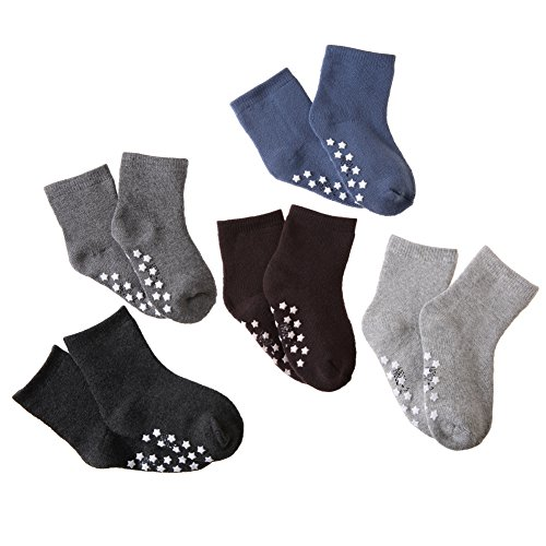 HERHILLY Toddler Kids Winter Cotton Socks Boys Girls Athletic Non Slip Crew Socks For 0M-13 Year Old -5 Pack – Sports Center Store