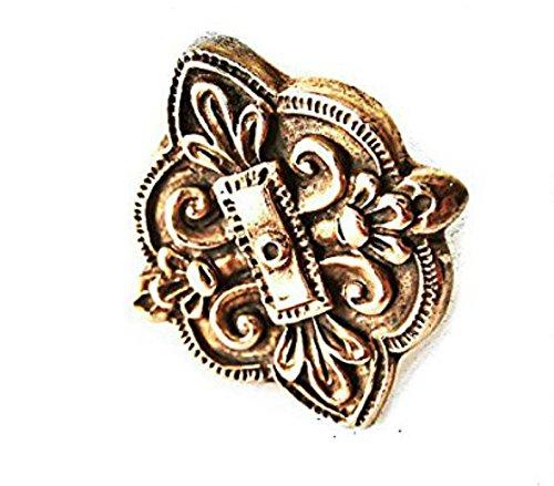 Artisan Bohemian Statement Ring, Gold Bronze Quatrefoil Lily Flower Fleur de Lis, Size -