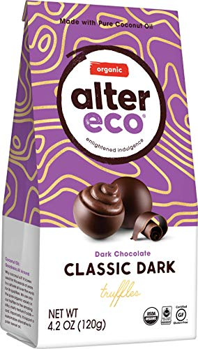 Alter Eco | Classic Dark Truffles | 58% Pure Dark Cocoa, Fair Trade, Organic, Non-GMO, Gluten Free Dark Chocolate Truffles, Single Bag (10 ct)