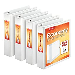 Cardinal Economy Round Ring View Binders, 2 Inch, White, 4 per Pack (79520)