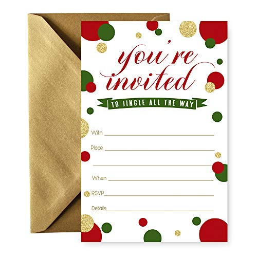 Jingle and Mingle Party Invitations - 15 Cards and Envelopes -