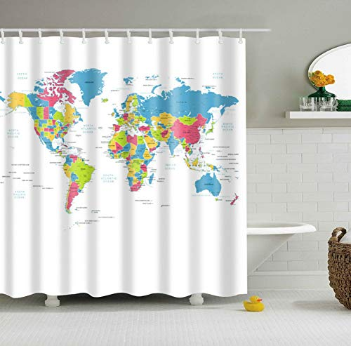 - Big Fun Colorful World Map Traveler Fabric Shower Curtain Set with Hooks, 70