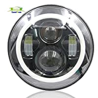 Lantsun 7 Inch Round LED Headlight with Amber Signal Halo Angle Eyes with DRL Halo for 97-15 Jeep Wrangler(1 Pair) 022022