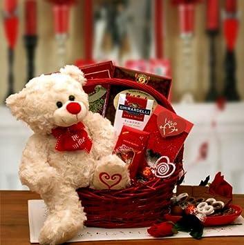 Be My Valentine  Valentineu0027s Day Gift Basket With Teddy Bear