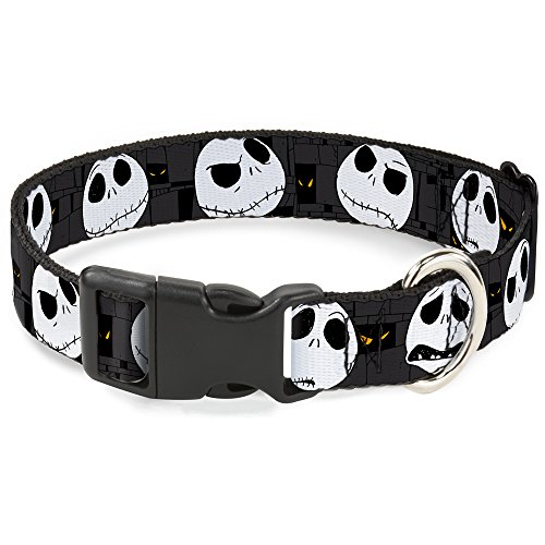 Buckle Down Nightmare Before Christmas Jack Expressions Gray Plastic Clip Collar, Narrow Large/9-15