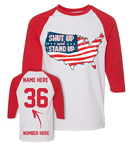 - USA Map - Custom 4th of July T Shirts & Jerseys - Patriotic American Flag Baseball Raglans