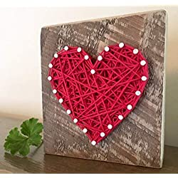 Sweet & small red string art heart block sign and gift. Great for Wedding favors, Anniversaries, housewarming, teachers, congratulations & just because gifts by Nail it Art.