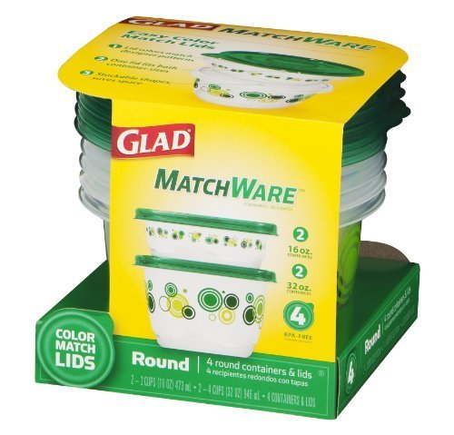 Glad Food Storage Containers, Matchware Round, 2-16oz, 2-32o
