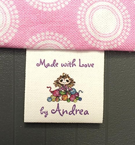 40 Custom Precut Cotton Loop Fold Sewing Label/tags with Crochet/girl/yarn Graphic-made in USA