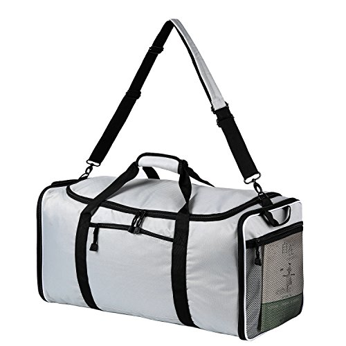 Large Travel Duffle Bag 60 Liters capacity Polyester Travel Duffel Bags Foldable Bag Single Shoulder Strap grey