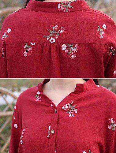 MatchLife T Femme Floral Top Classique Casual Fuchsia Shirt Rouge Haut TTFAqCw