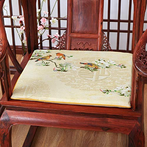 JYTT Birds and Flowers Embroidered All Seasons Chinese Style Couch Chair Pads Sofa Seat Pad Redwood Padded Cushion Sponge Dining Chair Bench Beige Green Gray-a 50x45x4cm (Chair Embroidered Pads)