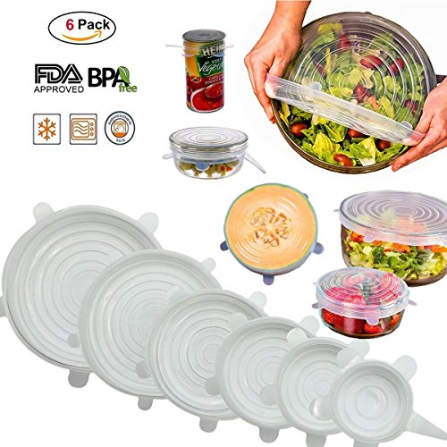 (Nasin Silicone Stretch Lids BPA Free Reusable 6 pack Silicon Lids overs Food Saver Covers Various Sizes for Keeping Food Fresh, Perfect for Fruits & Vegetables or Cups, Bowls,Dishes,Cans,Plat (Clear))