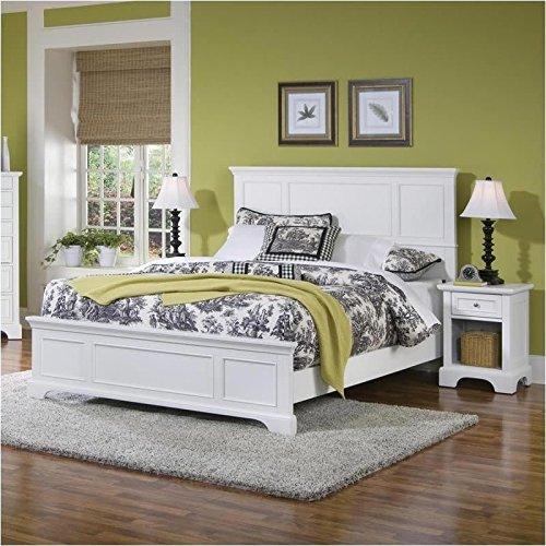 Footboard Nightstand Set (Home Styles 5530-5013 Naples Queen Bed and Night Stand, White Finish)