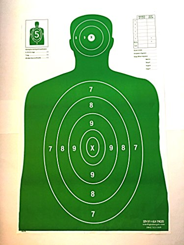 Son of A Gun Paper Shooting Targets, HIGH Shot Placement Visibility, Life Size B-27 Silhouettes, Bright Green Package, 100 Total Count, GET More Bang for Your Buck! Best Prices Anywhere!