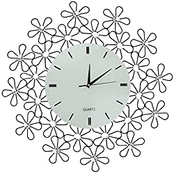 LuLu Decor, Daisy Lines Decorative Metal Wall Clock, Size 23.50, Modern Wall Clock, Silent Non-ticking, Quartz Movement, Perfect for Housewarming Gift (White)