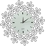 LuLu Decor, Daisy Lines Decorative Metal Wall Clock, Size 23.50'', Modern Wall Clock, Silent Non-ticking, Quartz Movement, Perfect for Housewarming Gift (White)