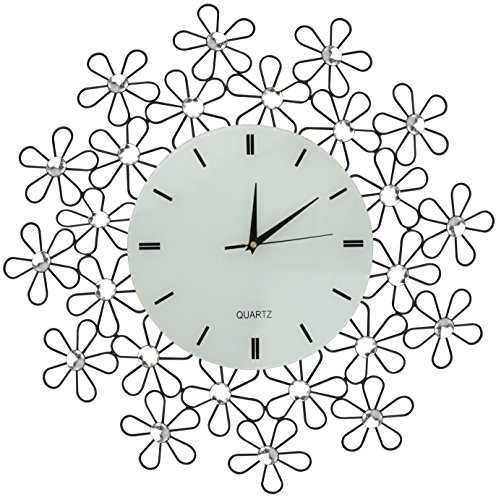 Lulu Decor, Daisy Lines Decorative Metal Wall Clock, Size 23.50