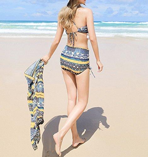 xl jaune Pour Swimsuit Maillot Taille Haute Homee Bain Beach À Skirt Pièces De Femmes Trois q6dwBOPn