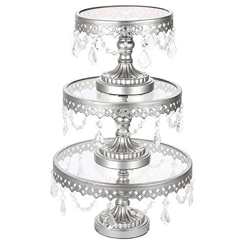 Dorfin 3-Set Victoria Antique Gold Cake Stand, Round Glass Plate Metal Dessert Cupcake Stands Pedestal Wedding Party Display with Crystals (Silver)