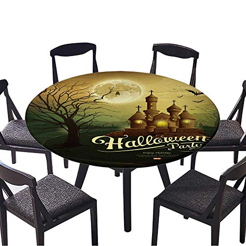 Round Fitted Tablecloth Happy Halloween Party Castles with Message,bat,Silhouette Tree,Moon for All Occasions 43.5