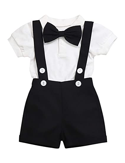 16593ca74 Baby Boys Clothes Gentleman Outfits Suits, Infant Long Sleeve Romper+Bib  Pants+Bow Tie Clothing Set