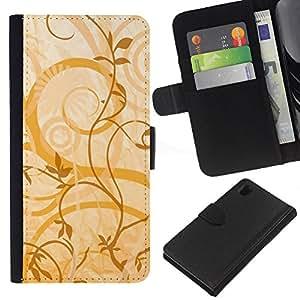 KLONGSHOP // Tirón de la caja Cartera de cuero con ranuras para tarjetas - Textura floral amarillo - Sony Xperia Z1 L39 //