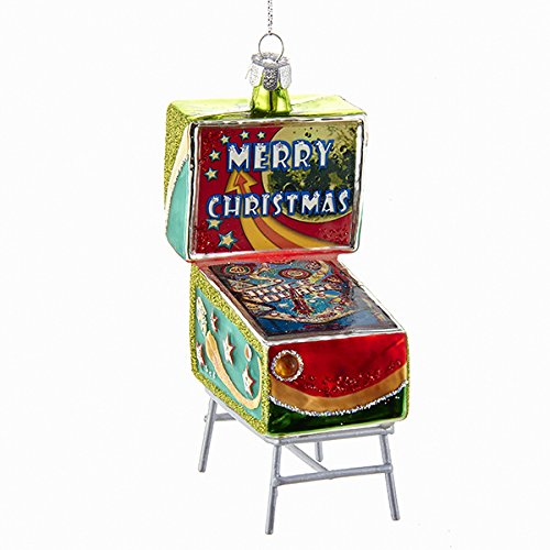 Merry Christmas Pinball Machine Glass Ornament Classic Arcade Game TD1476 New