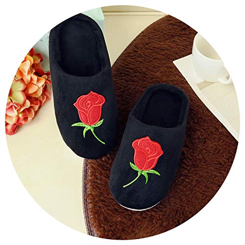 New-Loft Velvet Floor Home Indoor Slippers Quiet Cotton Fluffy Comfortable Shoes Black WS338,Black one,8.5 (Louis Beds Dog)
