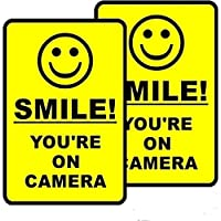 (2 Pack) 210mm x 140mm Smile You're ON Camera Sign Window Door Wall Warning Alert Decal Sticker - Back Self Adhesive Vinyl