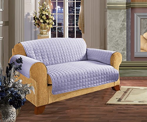 - Elegant Comfort Quilted Furniture Protector for Pet Dog Children Kids Special Treatment Microfiber as Soft as Egyptian Cotton Love Seat, Lilac