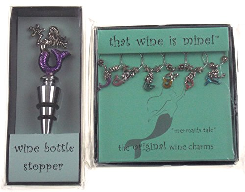 - Mermaid Bottle Stopper & Wine Charms Bundle