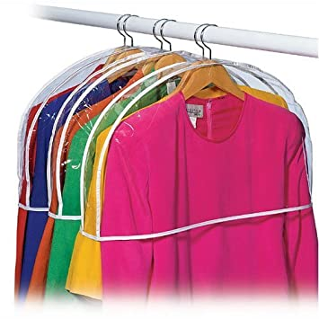 Clear Vinyl Shoulder Covers Closet Suit Protects Storage Home Decor Size:  12u0026quot;H X