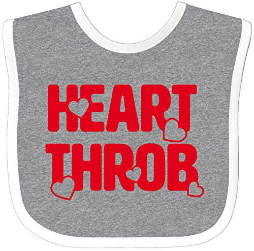 (Inktastic - Heart Throb (red) Baby Bib Heather/White 208bd)