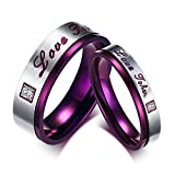 Beydodo Engagement Ring Set Stainless Steel Rings Couple Round CZ Women Size 9 & Men Size 7