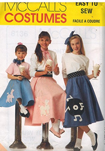 8137 McCalls Sewing Pattern UNCUT Girls Child Halloween Costume 1950s T Shirt Poodle Skirt Scarf Headband Size 7 8 10 ()