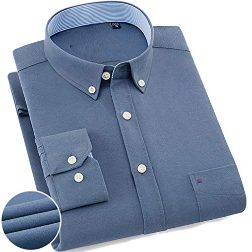 Mens Long Sleeve Solid Oxford Dress Shirt with Left Chest Pocket Male Casual Regular-fit Tops Button Down Shirts,Blue Grey,L