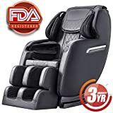 Massage Chair Recliner, S-track Zero Gravity Full Body Shiatsu Luxurious Electric Massage Chair with Stretched Tapping mode Heating back and Foot Rollers Sofa Recliner (Black)