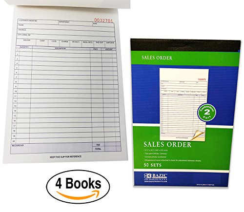 (Sales Order Books Invoices | Receipts, 2-Part, Carbonless, White/Canary, 8.5 x 5.5 Inches, 50 Sets per Book, 4 Books)