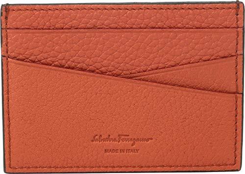 Salvatore Ferragamo Men's Firenze Muflone Flat Card Case, Contrast Color Loden One Size - Firenze Card Case