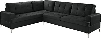 Classic Large Tufted Velvet Sectional Sofa, Living Room L-Shape Couch (Black)