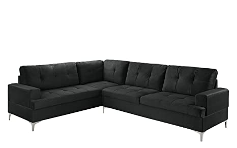 Swell Classic Large Tufted Velvet Sectional Sofa Living Room L Shape Couch Black Machost Co Dining Chair Design Ideas Machostcouk