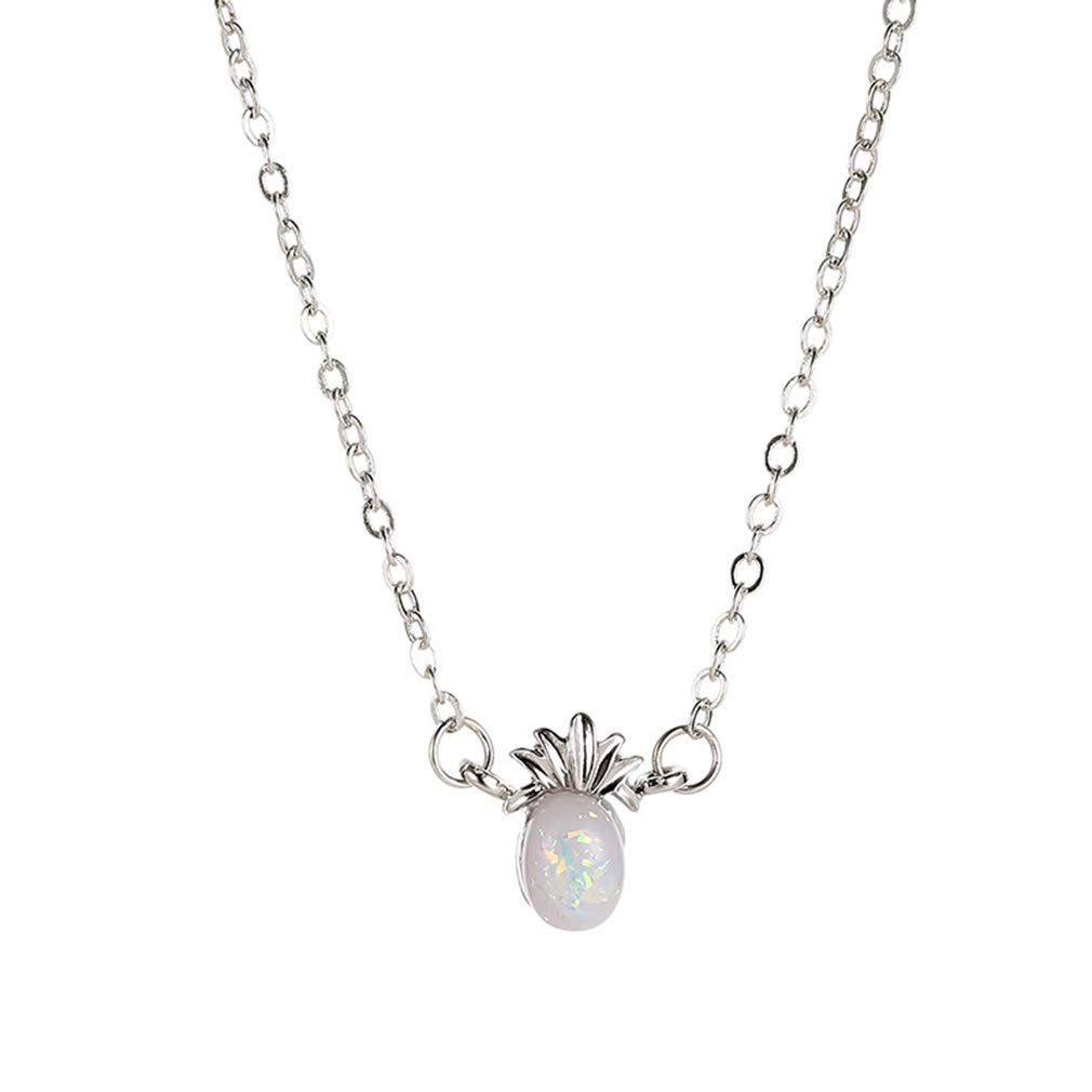 GUAngqi Pineapple Fruit Pendan Necklace Minimalist Faux Opal Necklace Jewelry Gift for Girls Women,Silver