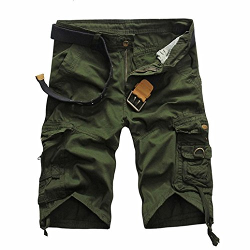 PASATO Clearance!Fashion Mens Casual Pocket Beach Work Casual Short Trouser Shorts, Classic Comfortable Cotton Pants(Army Green, 38) ()