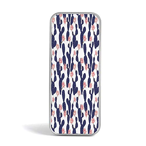 Tin Pencil Box,Navy and Blush,Pen Case Organizer for School Office Home,Cactus Tropical Garden Theme Blossoming Succulent Plants Exotic Botanical